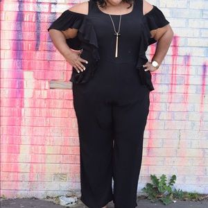 Black Off-Shoulder Ruffle Jumpsuit with POCKETS